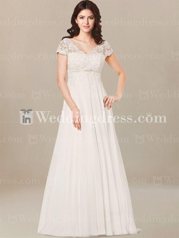 Plus Size Brautkleid mit kurzen Ärmeln PS185 | Wedding dress ...