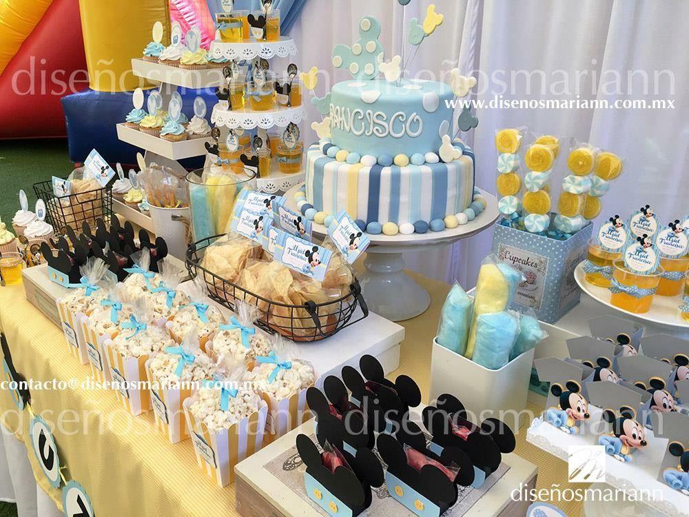 Mesa de dulces mickey beb bautizo mickey mickey baby for Mesa de dulces para baby shower nino