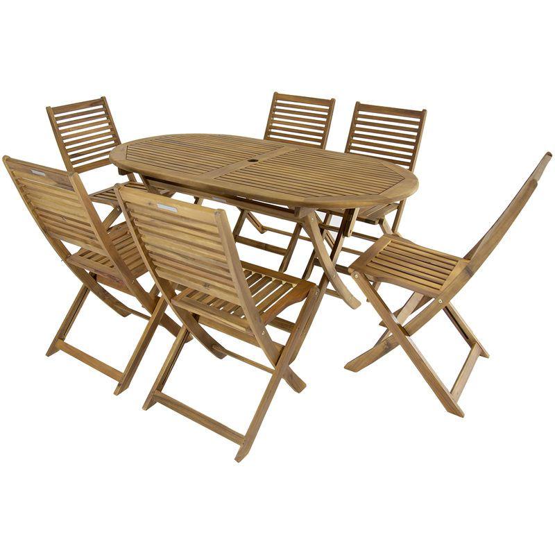 Ensemble table ovale + 6 chaises en bois - jardin/patio ...