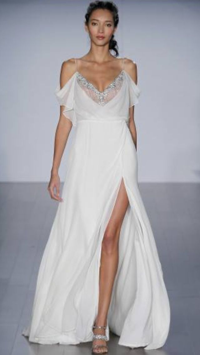 Drop Sleeve chiffon wedding dress