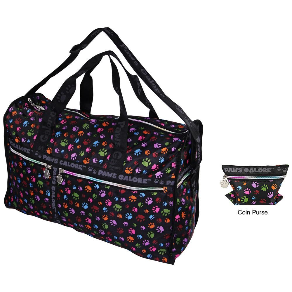 You Go With This Classic Roomy Travel Bag Featuring Black Woven Handles And An Adjule Shoulder Strap Rainbow Hued Zippers Complete Paw