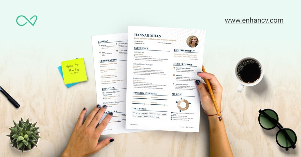 Create your resume with Enhancv to make sure the key things come - e resume builder