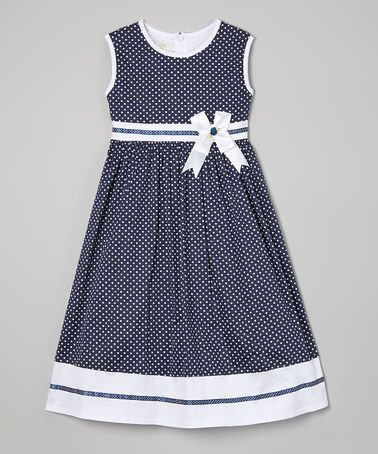 Loving this Blue Polka Dot Sash A-Line Dress - Toddler & Girls on #zulily! #zulilyfinds