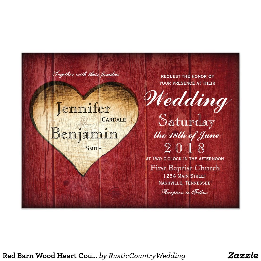 Red Barn Wood Heart Country Wedding Invitations | Country wedding ...