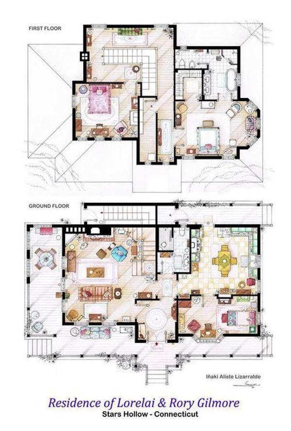 Teaching Kitchen Floor Plan gilmore house, stars hollow! floorplans of apartments and houses