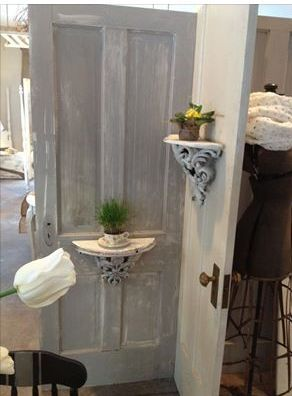 add a shelf to an old door. cute and functional