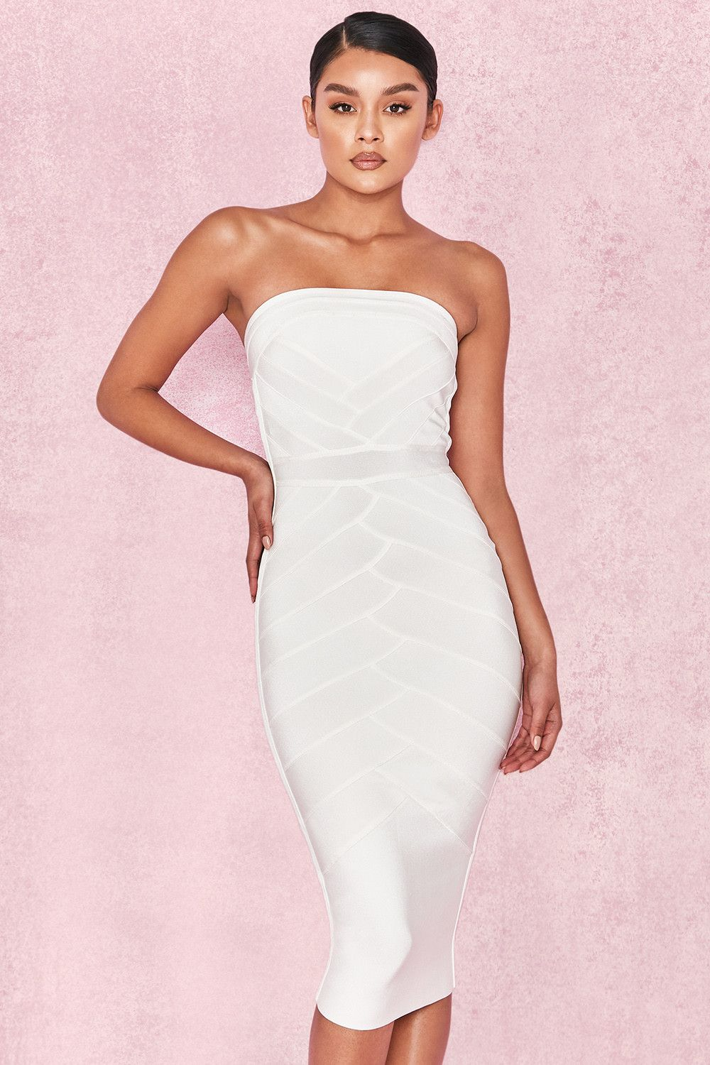 Clothing Bandage Dresses Amoura White Strapless Bandage Midi Dress Strappless Dresses Bandage Midi Dress Dresses