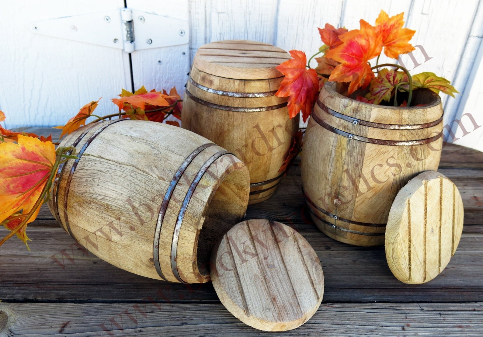 1 Small Wooden Barrel With One End Open 7 Tall Inset Steel Bands Country Christmas Centerpiece Usa Wooden Barrel Small Wooden Barrels Barrel Wedding Decor