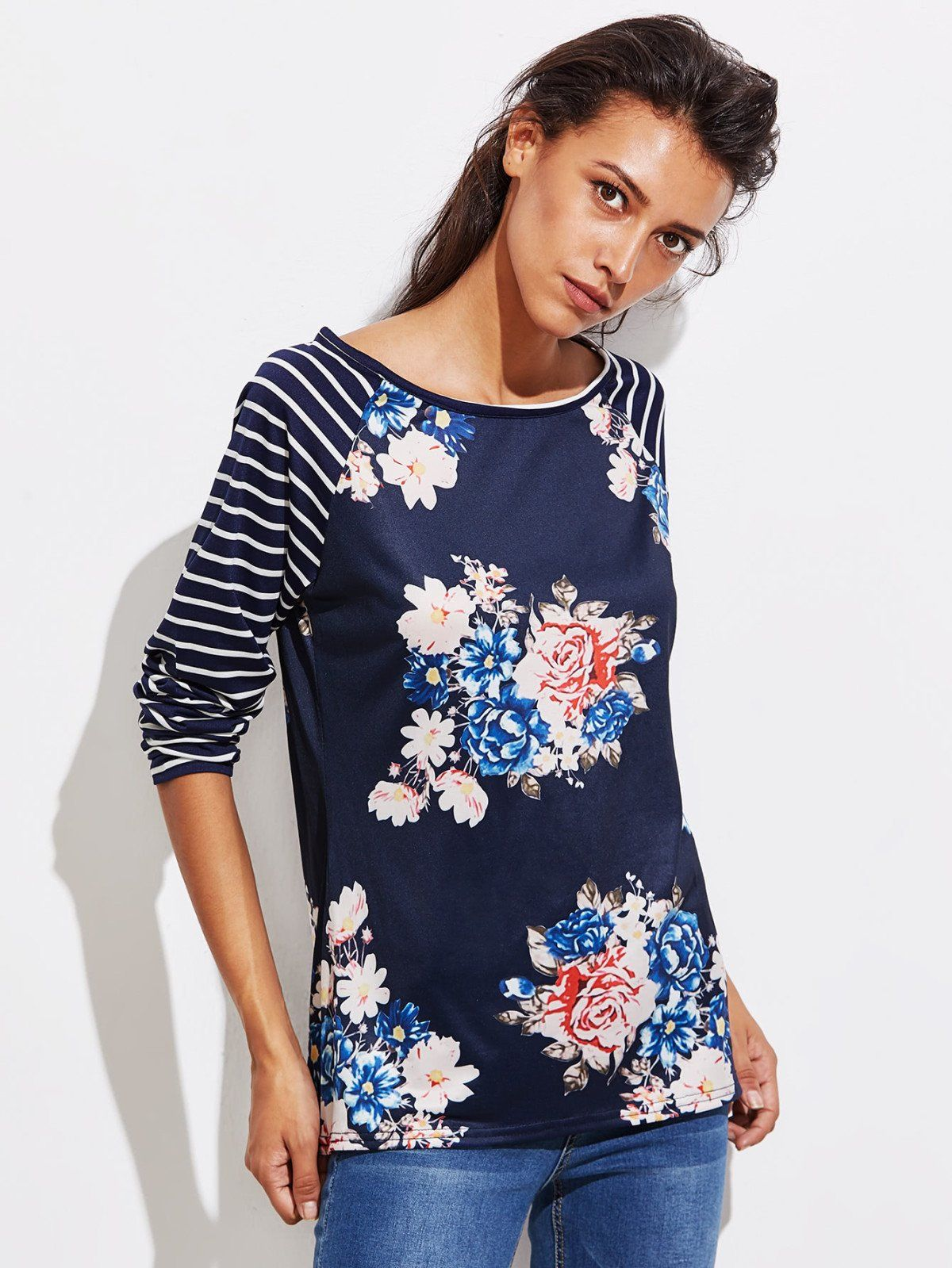 b5038708785a7 Shop Stripe Raglan Sleeve Florals T-shirt online. SheIn offers Stripe Raglan  Sleeve Florals T-shirt   more to fit your fashionable needs.