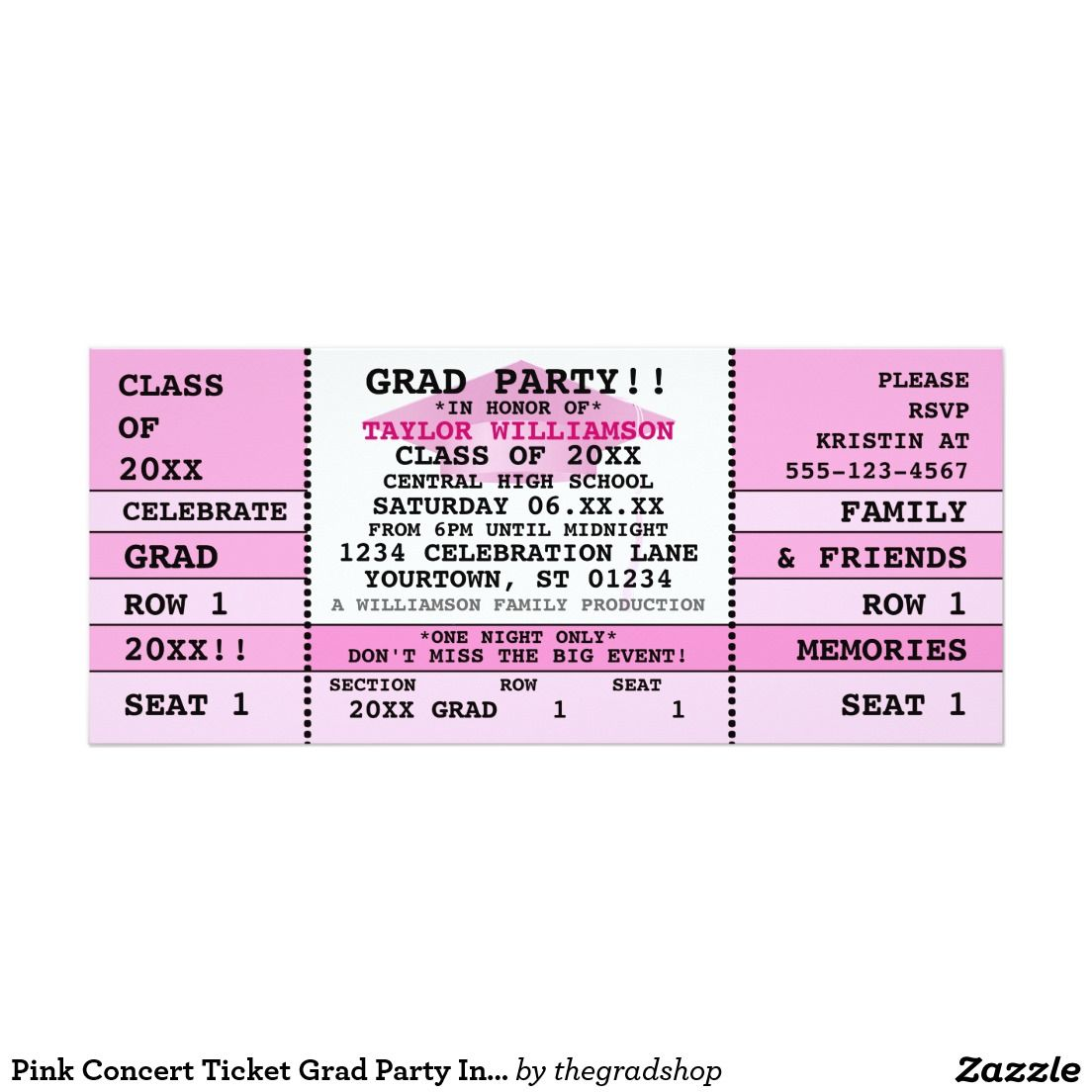 Pink Concert Ticket Grad Party Invitation  Class Of
