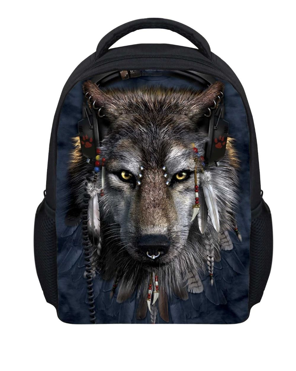 2fb9c27bfd0 Cool Wolf Printing Childrens School Bags for Boys,3D Animal ...