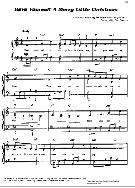 Have Yourself A Merry Little Christmas Klick Auf Die Noten Um Reinzuhoren Noten Klavier Klaviernoten Noten