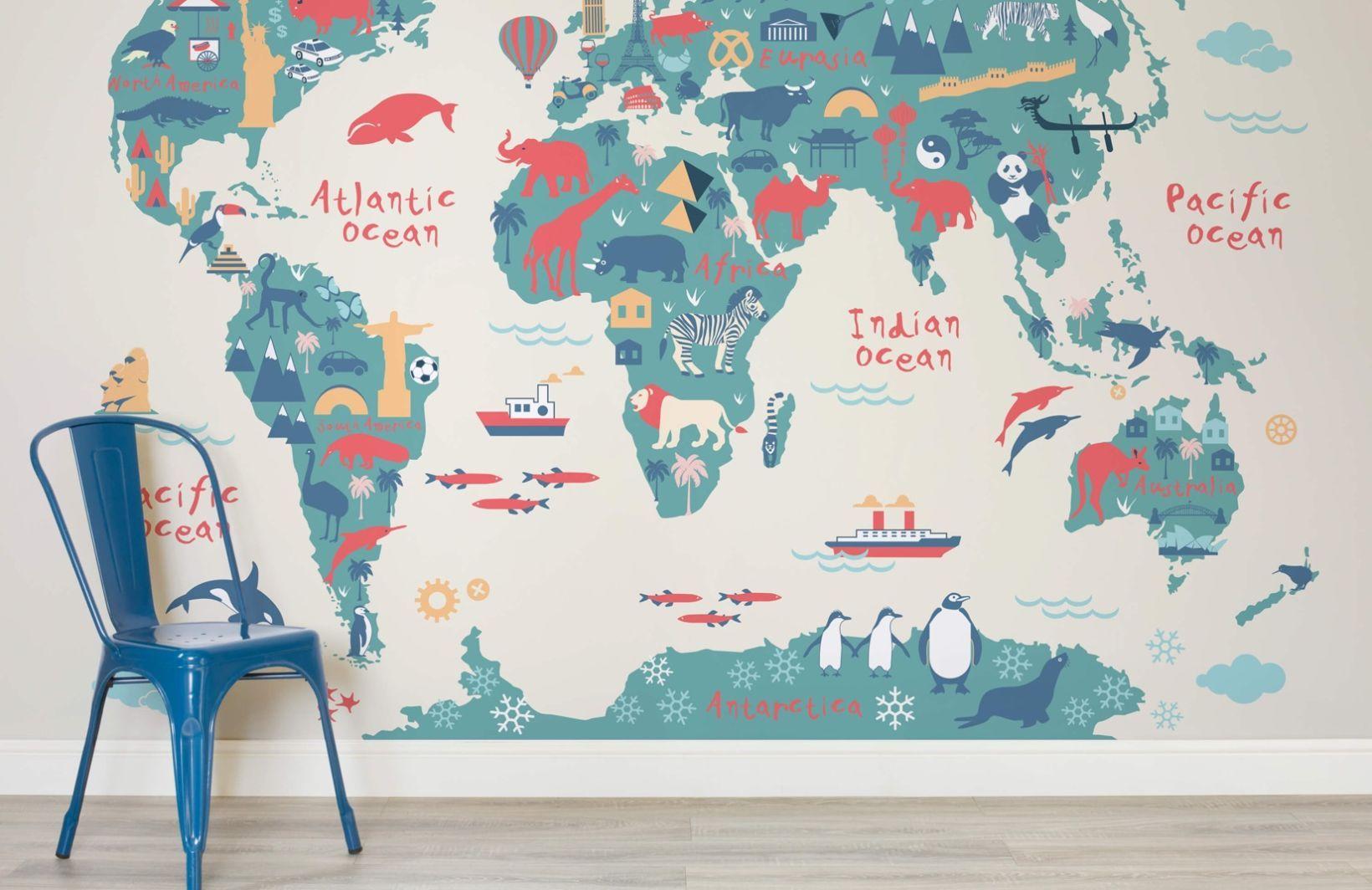 explorer kids world map mural murals wallpaper