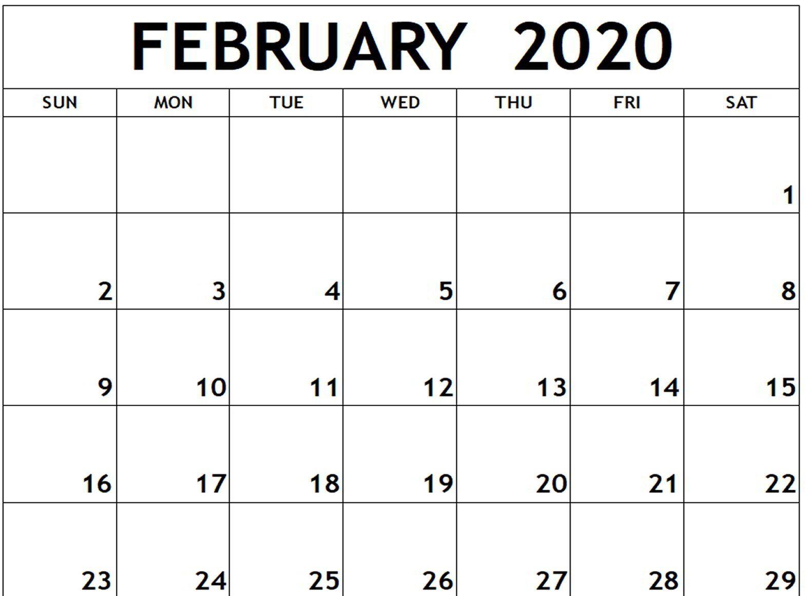 February 2020 Calendar Free Printable Calendar Templates