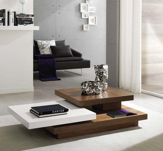 Wohnzimmertisch Holz Regale Weiß Bücher Modern