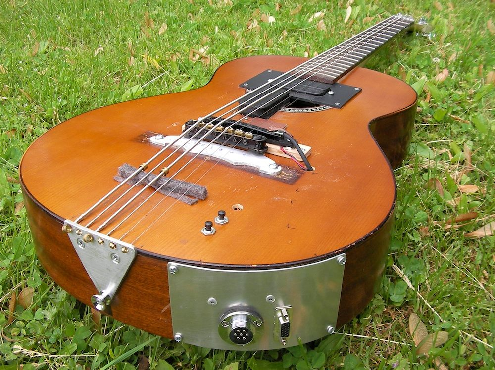 Polyphonic Workshop Bass Guitar Hybrid Classical Guitar Body Bolt On Neck 4 Outputs And Hexaphonic Midi Output Homemade Instruments Guitar Classical Guitar