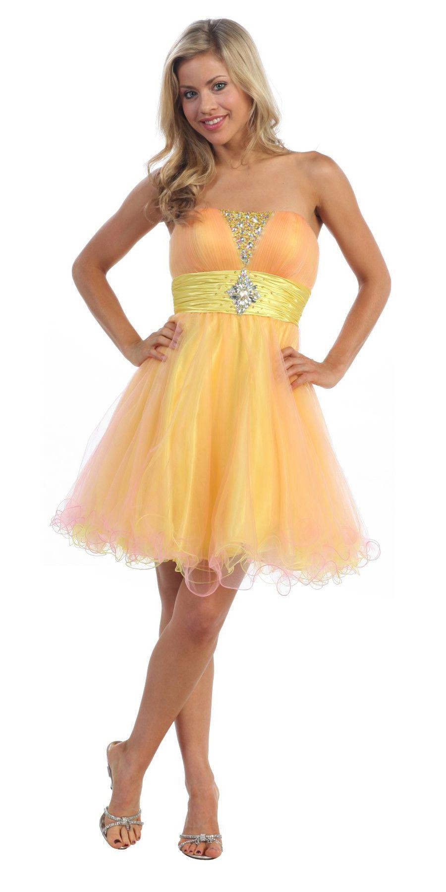 Orange Strapless Short Tulle Dress