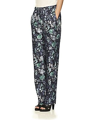 Burberry Floral-Print Mulberry Silk Trousers - Navy