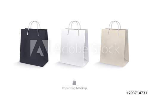 Paper Bags Set Mocap Shopping Bags Isolated On White Background A White Bag A Black Bag A Bag Of Kraft Paper Realistic Vec White Bag Paper Bag Black Bag