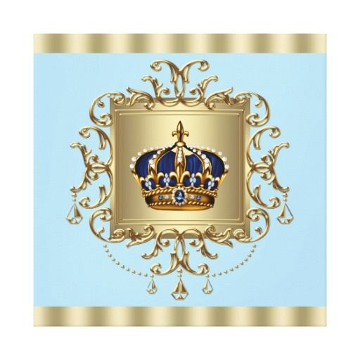 Elegant Blue And Gold Crown Canvas Wall Art Print Blue Canvas Art Wall Art Prints Canvas Wall Art