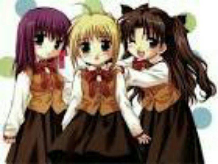 Three Cute Little Anime School Girls Anime Anime Child Anime School Girl