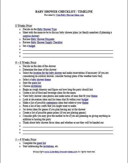 free baby shower checklist timeline baby shower pinterest