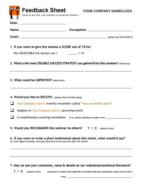 Doc405520 Client Feedback Form MS Word Printable Customer – Client Feedback Form