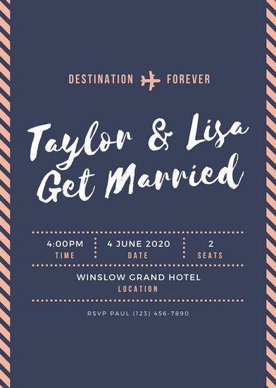 Dark Blue and Peach Boarding Pass Ticket Invitation Graphic Design - ticket invitation template