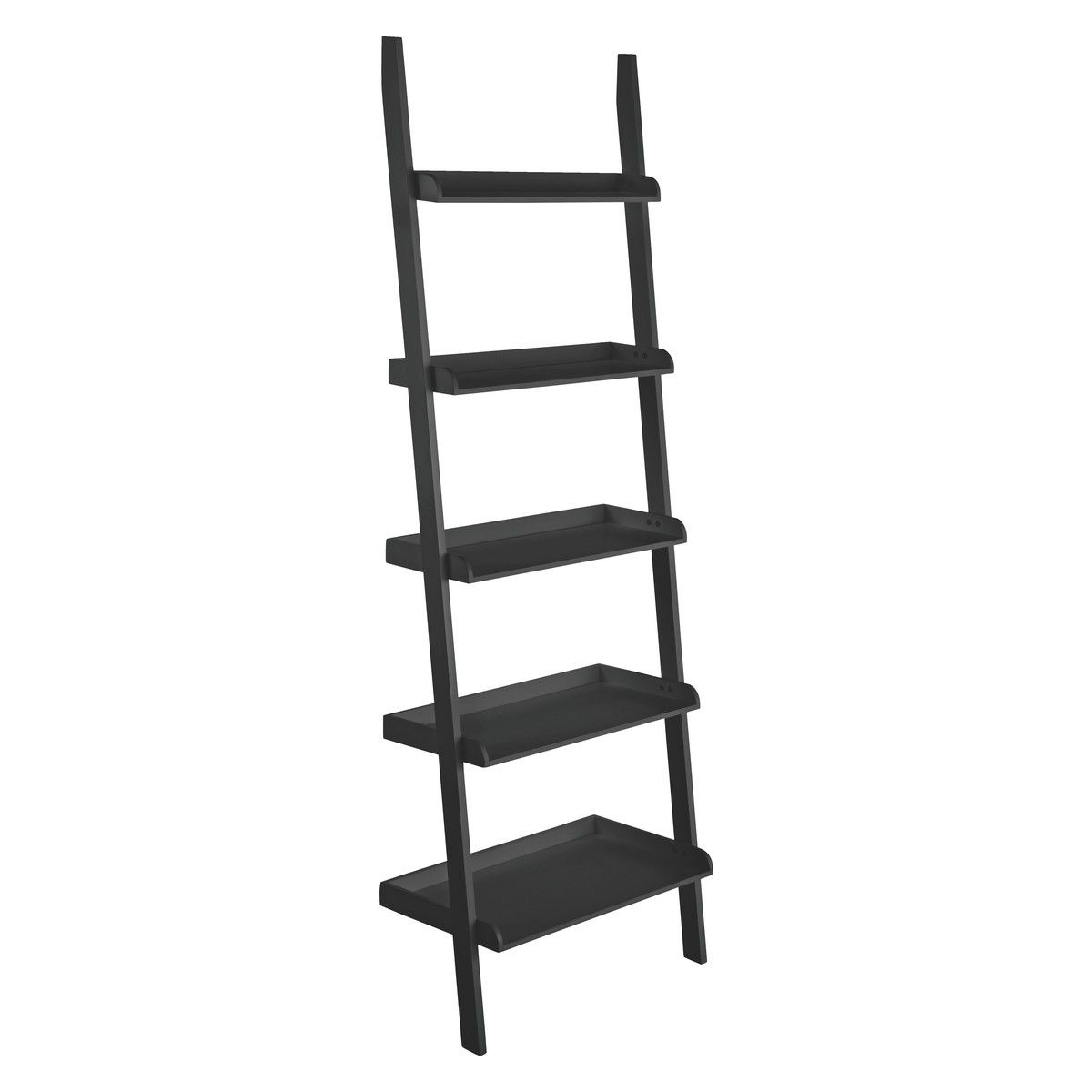 Jessie black wide leaning bookcase apartments room accessories