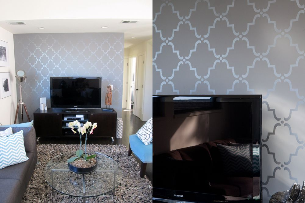 Courtney created an accent wall in the second floor living room by ...