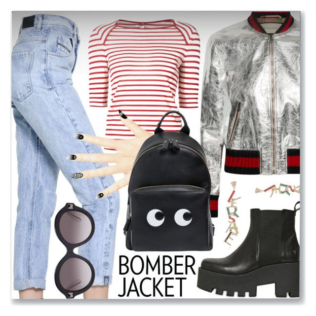 """""""Winter Style: Bomber Jackets"""" by dressedbyrose ❤ liked on Polyvore featuring мода, Diesel Black Gold, Gucci, Windsor Smith, Yves Saint Laurent, Anya Hindmarch, Versace, Valentino, women's clothing и women"""