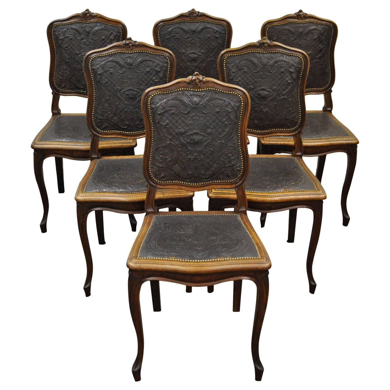 Modern french dining chair - Set Of Six French Louis Xv Style Walnut Dining Chairs With Embossed Leather