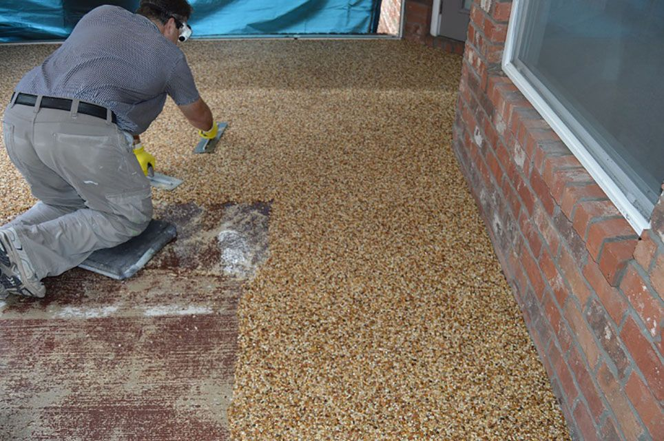 DIY Epoxy Stone Flooring Stone flooring, Patio flooring