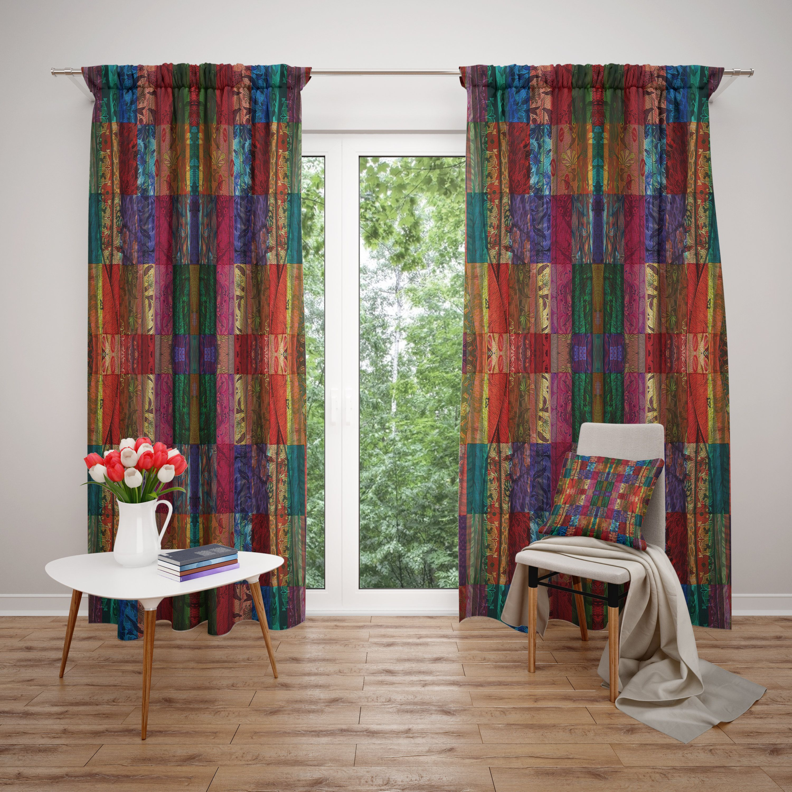 Faux Patchwork Window Curtain Boho Curtain Panels Colorful
