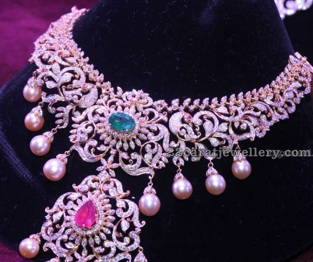 Gold And Diamond Jewellery Designs Indian Diamond Choker: Dazzle Heavy Indian Diamond Sets