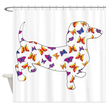 Butterfly Doxie Dachshund Shower Curtain By Roxy407 Cafepress Fabric Shower Curtains Dachshund Doxie