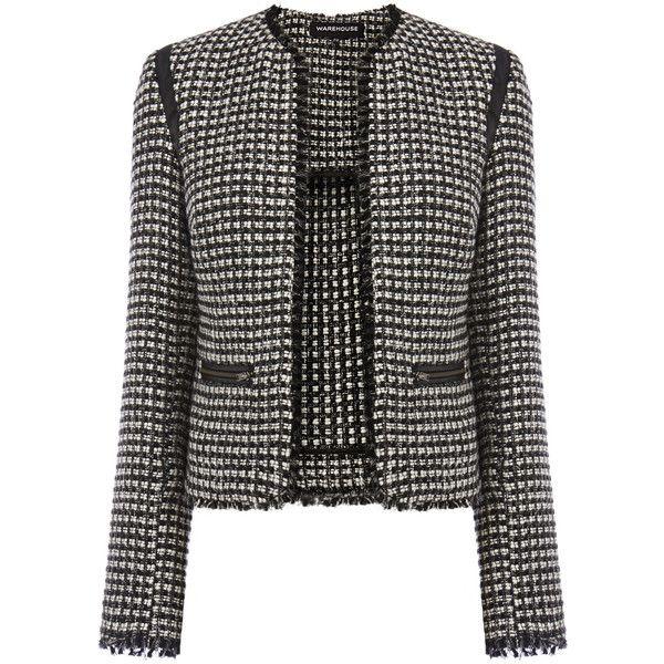Warehouse Mono Tweed Jacket (735 UYU) ❤ liked on Polyvore featuring outerwear, jackets, black, long sleeve jacket, cropped tweed jackets, long sleeve crop jacket, fleece-lined jackets and warehouse jackets
