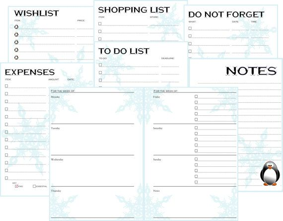 A5 Filofax Printable Inserts- To do list, Shopping list, Expenses - list of expenses