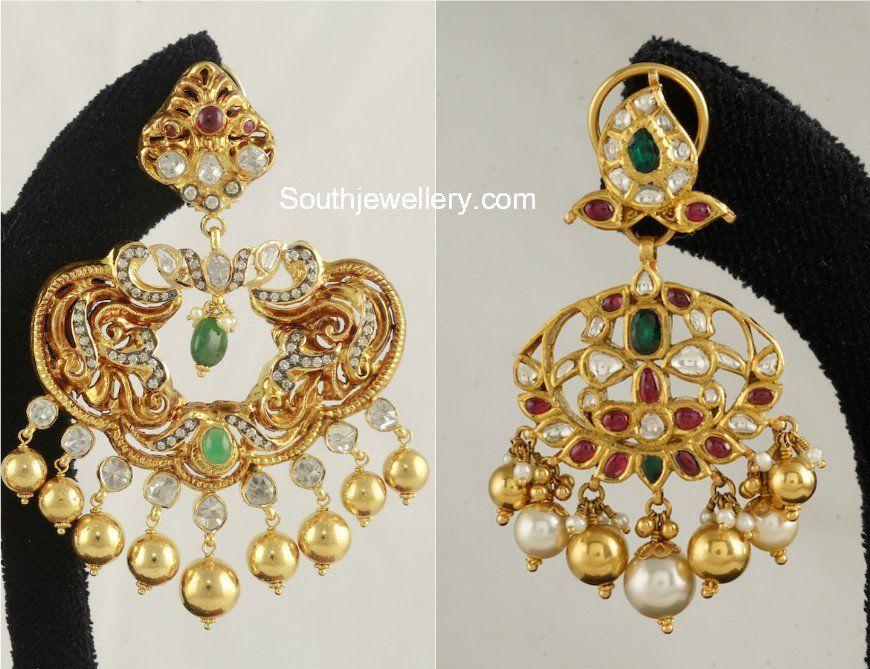 22 Carat Gold Chandbali Earring Designs Adorned With Precious Stones