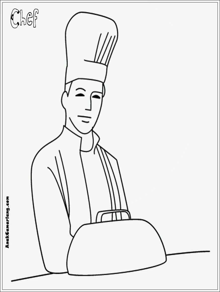 mewarnai gambar profesi chef juru masak dari