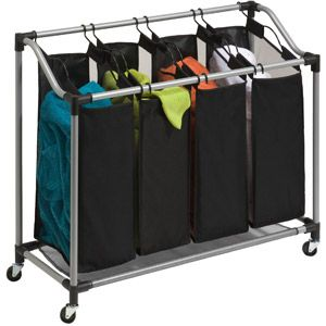 Honey Can Do Deluxe Quad Laundry Sorter With Removable Bags Black Gray