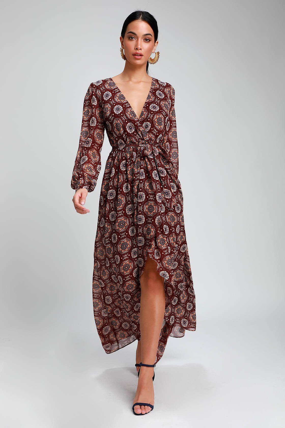 Art And Soul Burgundy Multi Print Long Sleeve High Low Dress Long Sleeve High Low Dress High Low Dress Dresses [ 1680 x 1120 Pixel ]