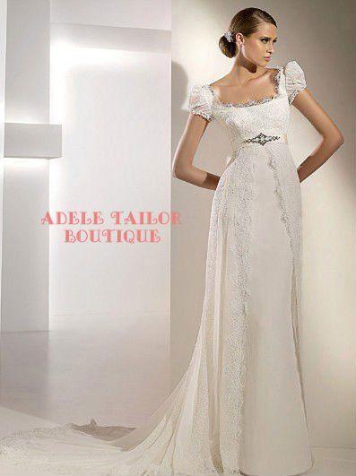 6f38148a788181 regency inspired wedding dress | ... made Regency Style Vintage Lace Puff  Sleeve Sheath Wedding Dress Prom