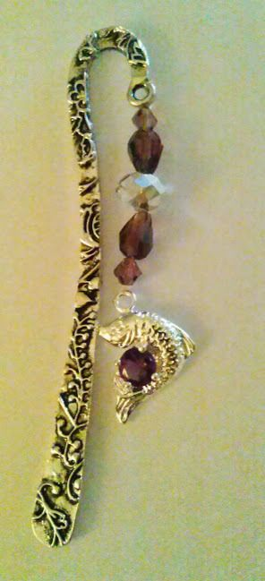 Silver, Engraved BOokmark, Purple Crystal, Silver Dolphin Charm, Handcrafted #SunLiEarthDreams