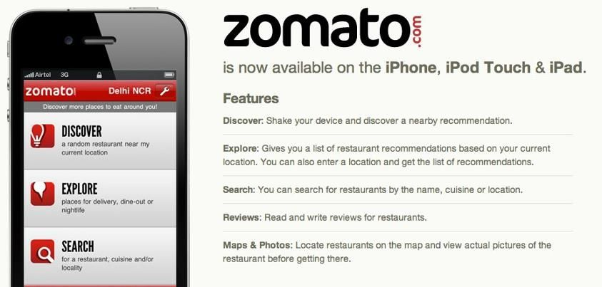 Zomato launches the iOs app for Iphone, Ipod Touch and
