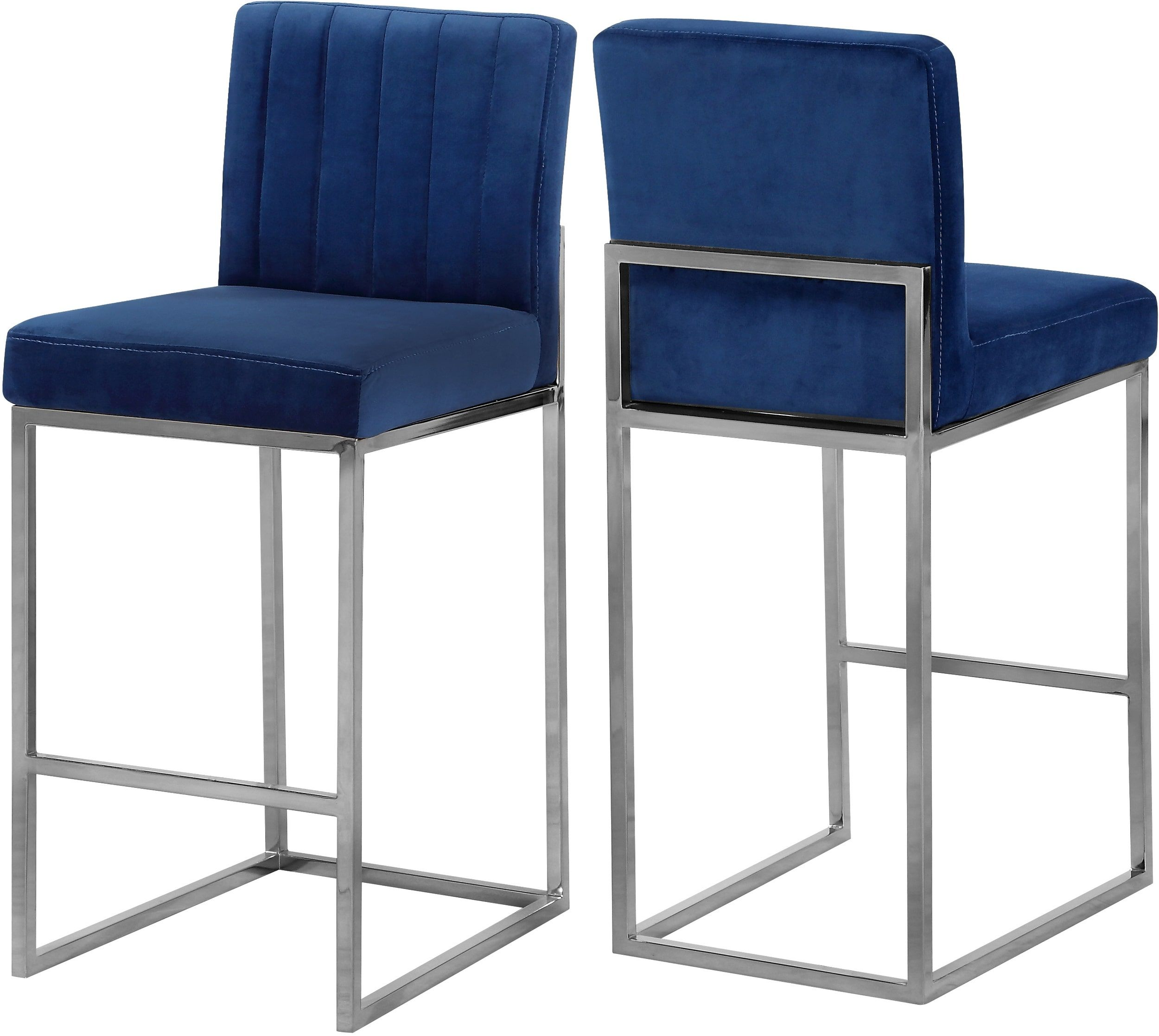 Meridian Giselle Navy Velvet Stool Reviews Goedekers Com Contemporary Bar Stools Bar Stools Velvet Stool