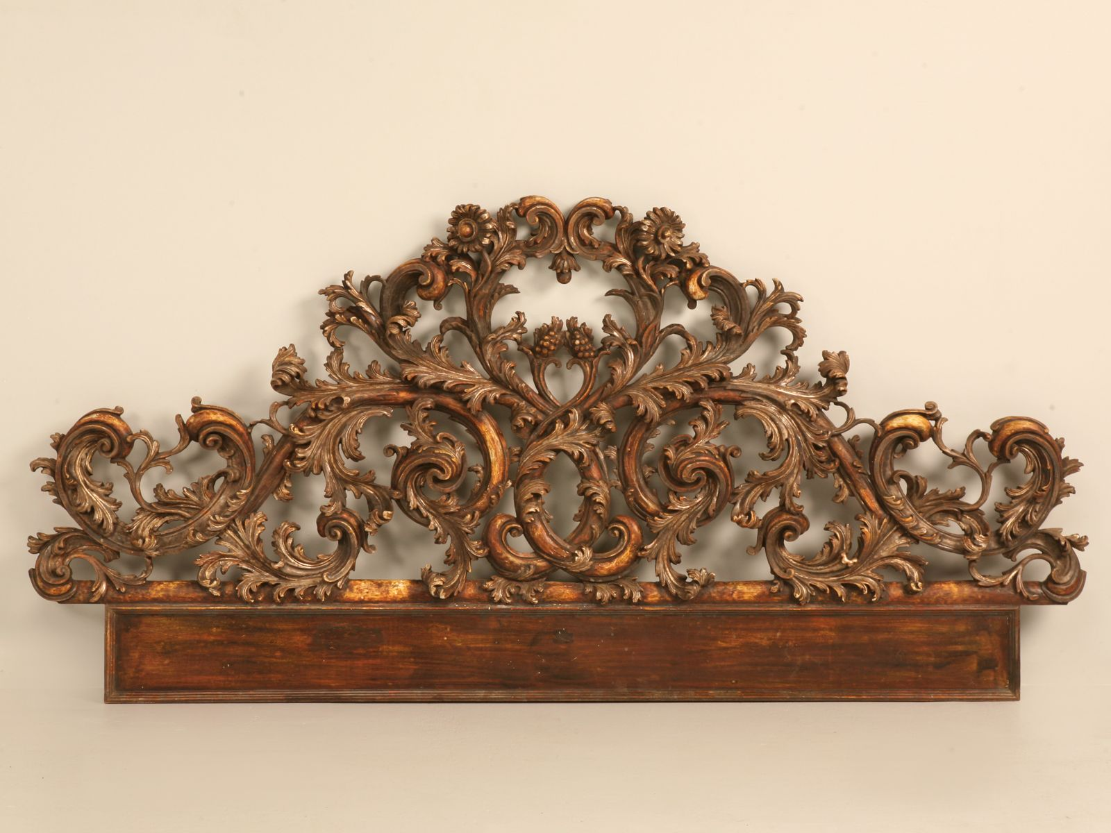 Antique italian carved and gilded relief headboard