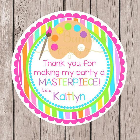 Paint Party Thank You Stickers Art Party Stickers Personalized Art Stickers.
