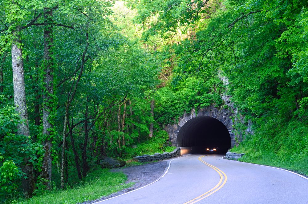 Drive Through The Tunnel Between Gatlinburg And Pigeon Forge