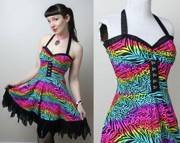 party animal neon rainbow leopard zebra print punk dress